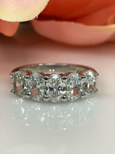 3.00 Ct Oval Moissanite Engagement Eternity Band Real 18K White Gold Ring Size 7