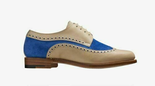 Women's Handmade White Leather & bluee Suede Oxford Brogue Wingtip Derby shoes
