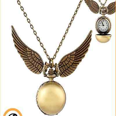 Harry Potter Golden Snitch Watch Necklace Steampunk Quidditch Pocket Clock SM