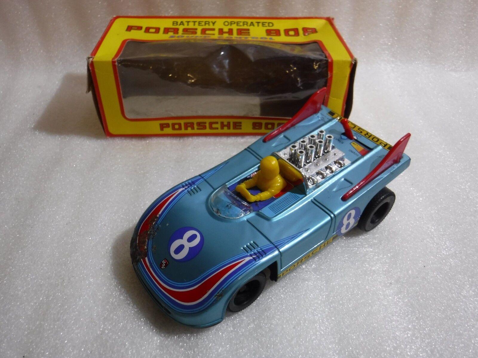 Vintage Daiya Japan Porsche 908 tin tin tin battery car ..Boxed Rare & Super Cool Sound d0a