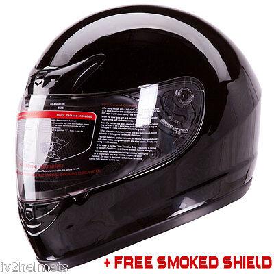 Gloss Black Full Face Motorcycle Helmet DOT +2 VISOR Size: S, M, L, XL