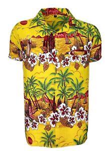 MENS HAWAIIAN SHIRT STAG BEACH HAWAII ALOHA  SUMMER HOLIDAY FANCY NEW ORANGE SUN