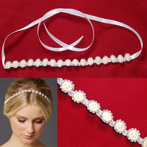 WEDDING BRIDAL HEADPIECE CRYSTAL BEADED WHITE IVORY SATIN RIBBON HAIR BAND PARTY