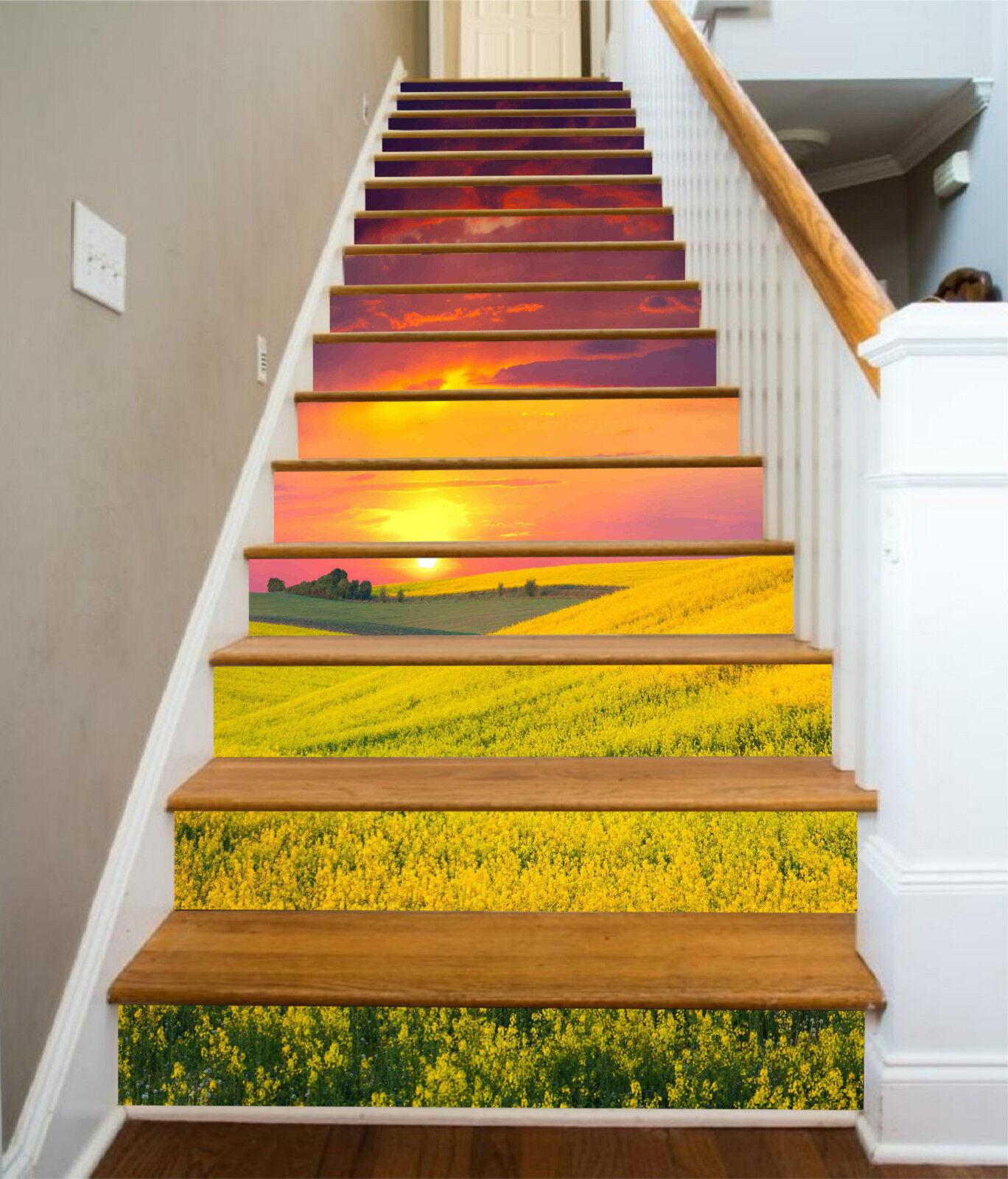 3D Gelb Blaume 428 Stair Risers Dekoration Fototapete Vinyl Aufkleber Tapete DE
