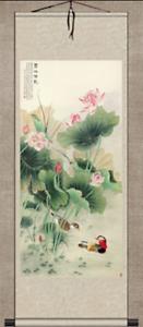 Asian Wall Decor Beautiful Silk Scroll Painting Mandarin Duck and Lotus Painting