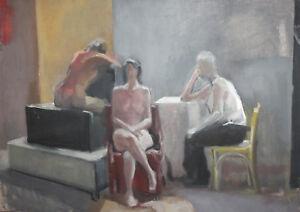 Vintage-nude-figures-portrait-oil-painting