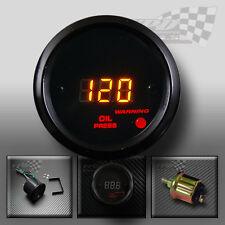 Pressione OLIO LED DIGITALE MANOMETRO Nero 52MM