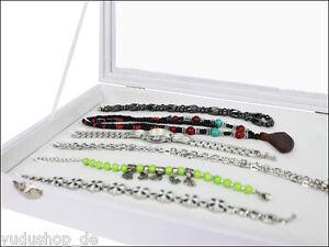 Pflichtbewusst Schmuckkasten Schaukasten Für Lange Ketten Armbänder Halsketten Glasdeckel Weiss SorgfäLtige FäRbeprozesse