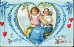 Valentine-CLAPSADDLE-DUTCH-CHILDREN-SWING-FORGET-ME-NOTS-IAPC-Antique-Postcard