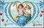 Valentine-CLAPSADDLE-DUTCH-CHILDREN-SWING-FORGET-ME-NOTS-IAPC-Antique-Postcard thumbnail 1
