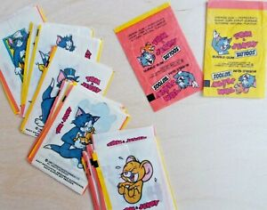 Full-Set-TOM-amp-JERRY-Tattoos-1989-Bubble-Gum-Inserts-Wrappers-40pcs-2wrapper