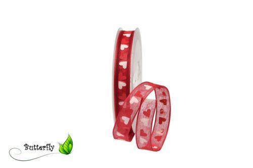 25m stoffband coeur 16mm 0,43 €//m DECO bande geschenkband Fixation réseau