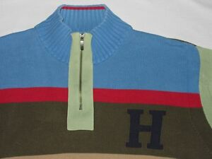 TOMMY-HILFIGER-DEMIN-Pull-tricot-Highschool-Tres-Multicolore-Tailles-XXL-rarete