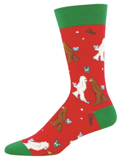 fa1898392a97 Socksmith Mens Mythical Kissmas Novelty Crew Socks Yeti Red Green New