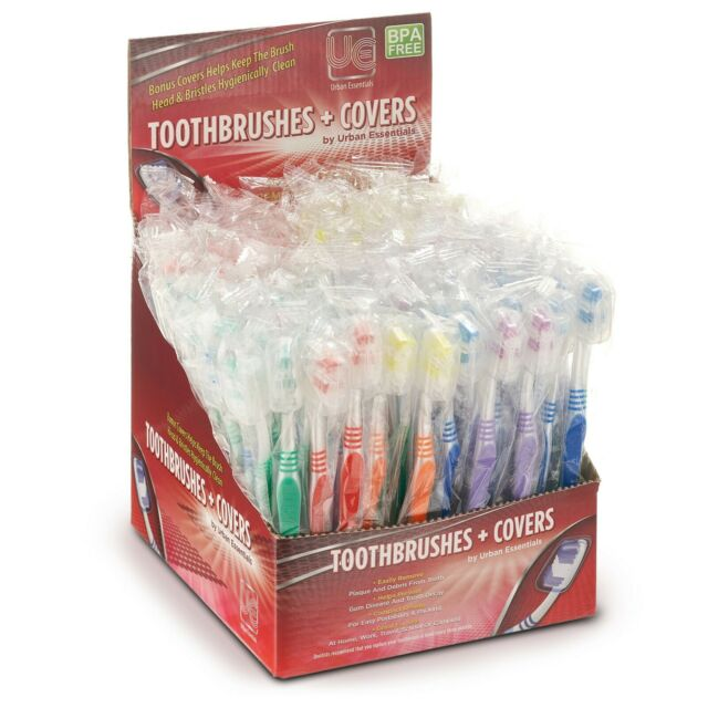100 Bulk Wholesale Toothbrush Individually Wrapped Classic Medium Soft With Cap