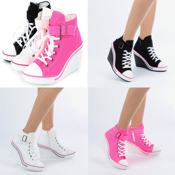 Wedges Trainers Heels Sneakers Platform High Top Ankles Boots Shoes 775 one band