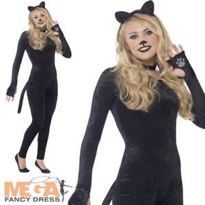 Image is loading Velour-Jumpsuit-Cat-Ladies-Fancy-Dress-Animal-Catsuit-  sc 1 st  eBay & Velour Jumpsuit Cat Ladies Fancy Dress Animal Catsuit Bodysuit ...