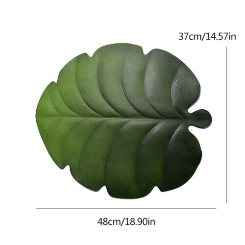 Fan Leaf EVA Placemat Coasters Dining Table Mat Green Artificial Plant Pad Decor