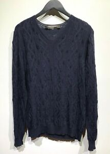 Neil-Barrett-Navy-Distressed-Cable-Knit-Light-Sweater-Size-Large
