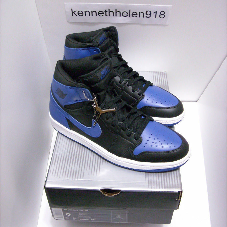 NEW 2001 NIKE AIR JORDAN 1 RETRO BLACK ROYAL BLUE SIZE 9