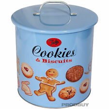 GRANDE Retrò Vintage Blu BISCUIT JAR coperchio impermeabile all'aria Storage POT Cookie Barrel