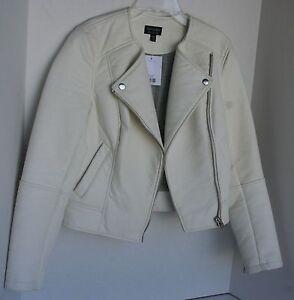 Faux 2 6 Jacket Ivory donna Us Topshop Leather Uk Eur Nwt da Juniors 34 Cream 4wW0AXPxHt