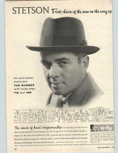 Details about 1955 Paper Ad Stetson Sussex Hat Mode Edge John B. Stetson  Company 1c1fb870e8a