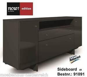 Now-Edition-Sideboard-4R-mit-Kufen-Nr-91091-Lack-grau-Hochglanz-grau-NEU