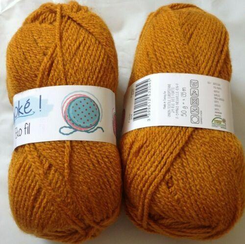 10 Pelotes de laine acrylique couleur  miel marque française