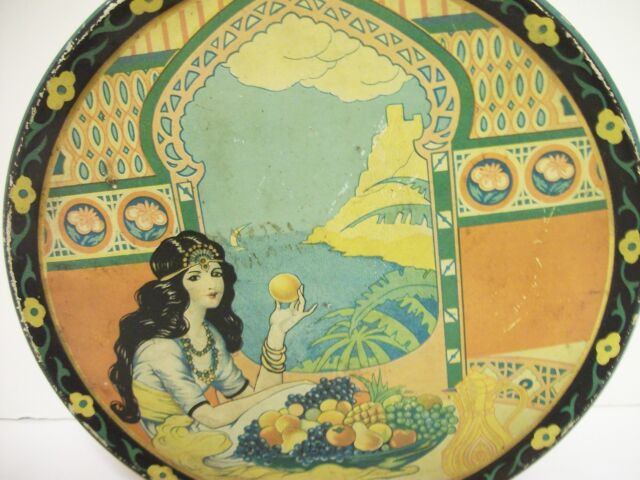 Vtg Art Deco Queen Anne Fruit Cake TIN 1920's Orange  Harem Exotic Girl Graphics