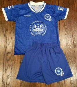 promo code b7645 6a5f6 Details about El Salvador Kid's Soccer Jersey National Soccer Team Jersey  and shorts