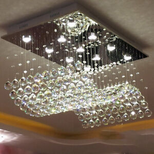 Details About LED Crystal Chandelier Dining Room Ceiling Light Rectangle  Lamp Vanity Lighting