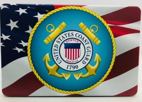 "UV 4/"" X 6/"" Aluminum Trailer Hitch plug Cover AMERICAN FLAG COAST GUARD"