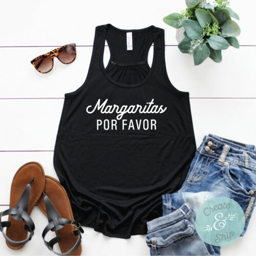 Brunch Shirt Cocktails Shirt Margaritas Por Favor LADIES Tank Top Beach Shirt
