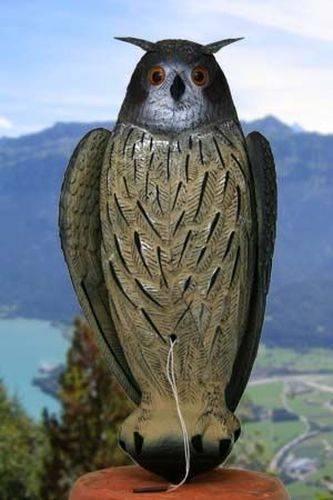 riesiger UHU bewegliche Flügel XXL 60cm Gartendekoration  Taubenschreck Jagd