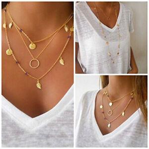 Mujer-Retro-boho-Collar-Multicapa-Hoja-largo-Cadena-Oro-colgante-joyeria