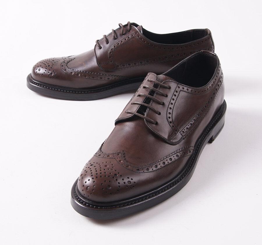 Nuevo En Caja  CANALI 1934 medio marrón de piel de becerro punta del ala Derby Zapatos EE. UU. 7 D