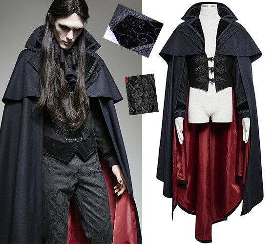 Cape Cloak Coat Vest Gothic Baroque Vampire Dandy Embroidered VTG PunkRave Men
