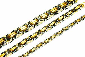 Byzantiner Königskette Armband Panzerkette Edelstahl gold schwarz 16-110 cm