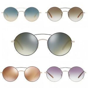 f9be63d9841 Oliver Peoples Round Sunglasses Nickol Metal Rose Gold Black OV1214S ...