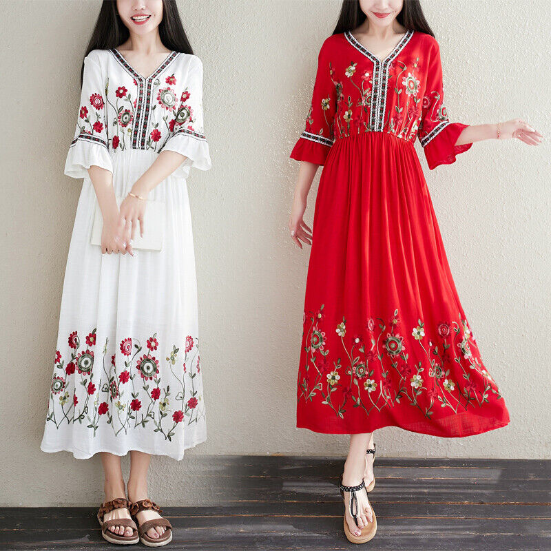 Linen Dress Womens Floral Embroidery Vintage V Neck Bohemia Ethnic Loose Dress