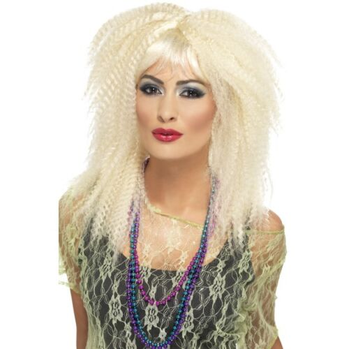 Womens 80/'s Crimp Blonde Wig Fancy Dress Layered Fringe Disco Punk Rock Hen Fun