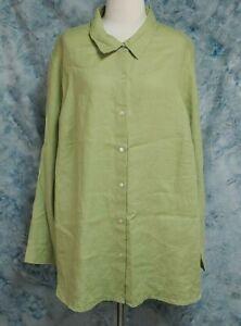 J-Jill-Womens-sz-3X-Green-Linen-Long-Sleeve-Button-Down-Top