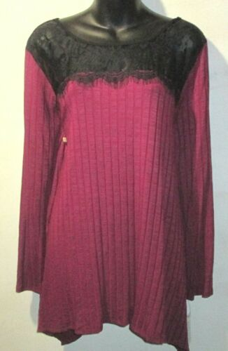 NY Collection Top Raspberry Size 1X Plus Knit Black Lace Trim $49 NEW RL64