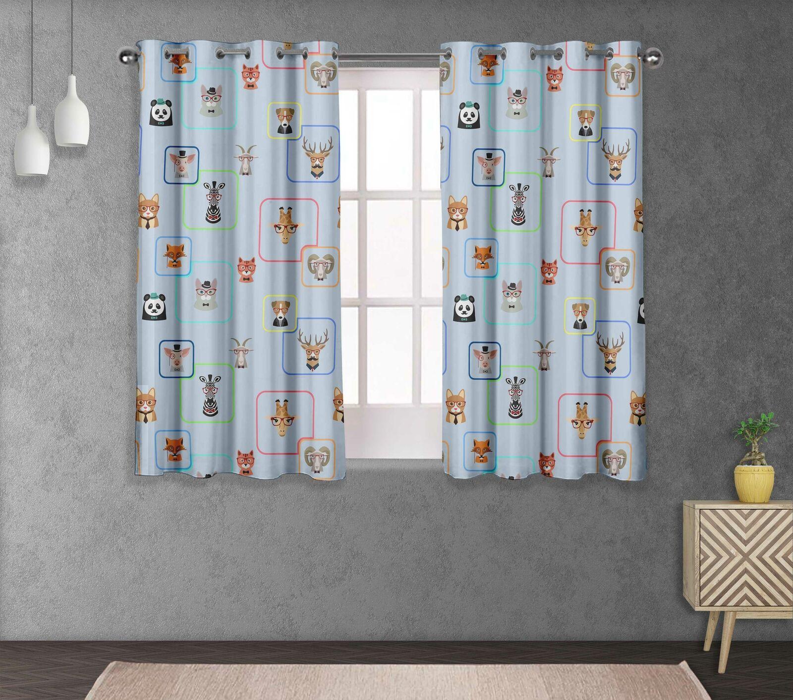 S4sassy Animals Printed Eyelet short & long Window Panel Curtains -FC-1H