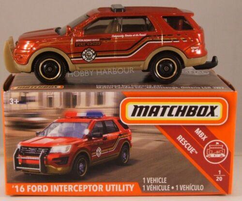 2019 iss MATCHBOX POWER GRABS #42 /'16 Ford Interceptor Utility Fire Chief/'s Car