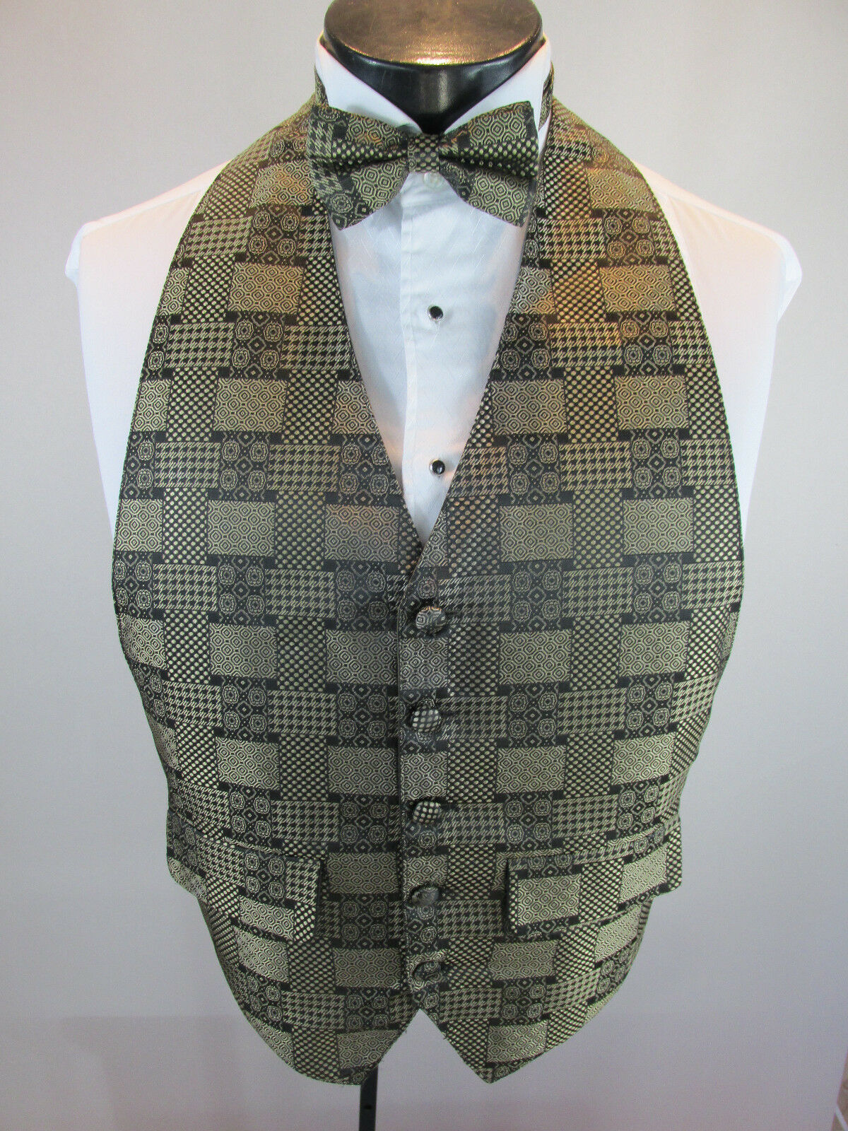 Mens Formal Vest Gold Checker Design Matching Tie Included OSFA B1