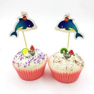 24 Delfin Toppers Cupcake Kinder Geburtstag Muffin Kuchen Deko Kase