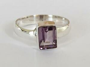 925-Sterling-Silver-Amethyst-Square-Rectangle-Stack-Gemstone-Ring-Size-6-7-8-9
