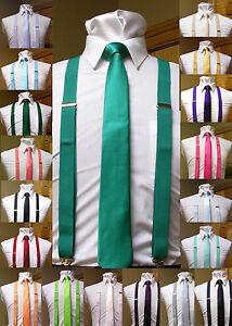Matching-skinny-tie-and-suspenders-set-men-039-s-clip-on-x-back-longer-necktie-prom